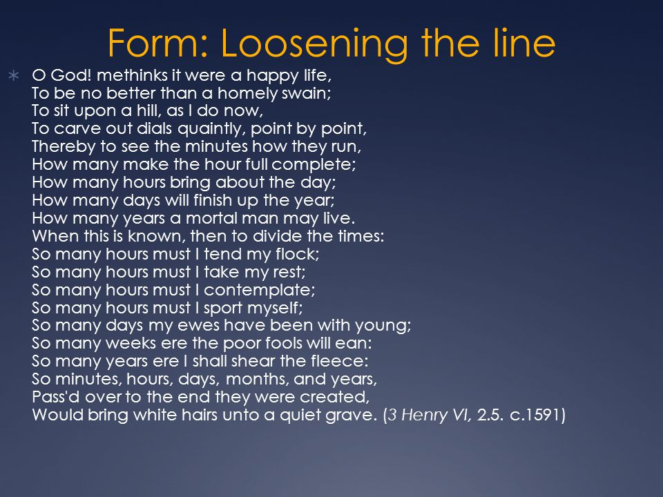 Form: Loosening the line