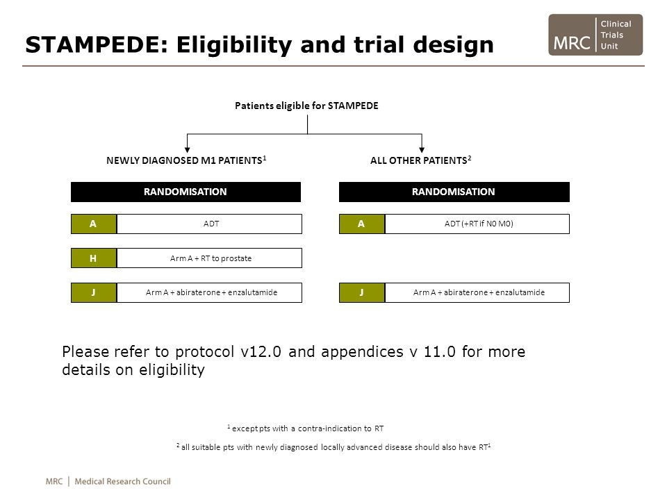 STAMPEDE: Eligibility and trial design