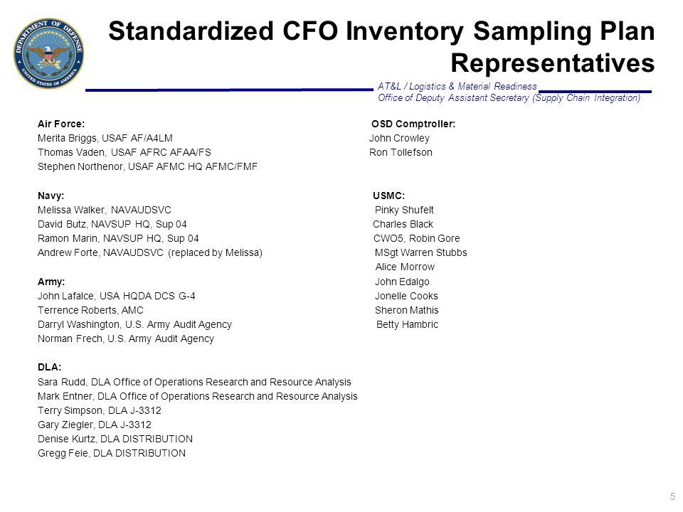 Standardized CFO Inventory Sampling Plan Representatives