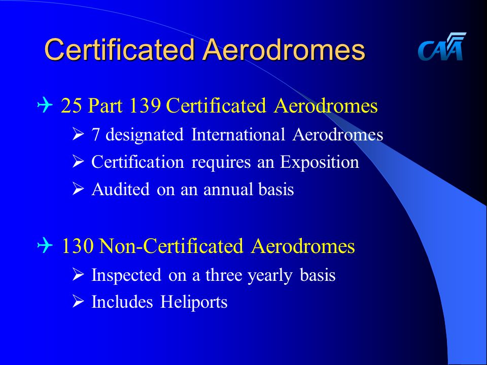 Certificated Aerodromes