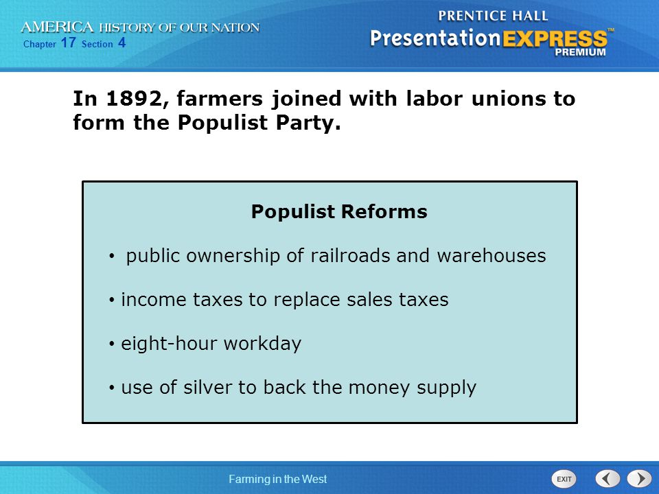 In 1892, farmers joined with labor unions to form the Populist Party.