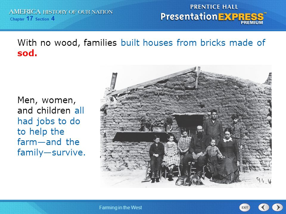 With no wood, families built houses from bricks made of sod.