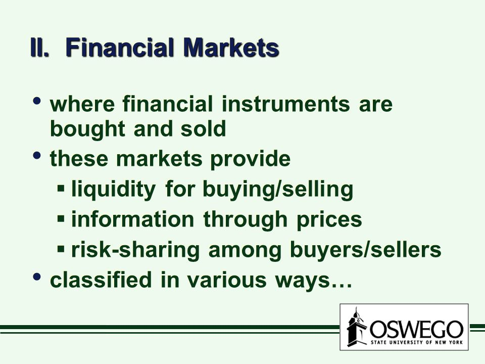 II. Financial Markets where financial instruments are bought and sold