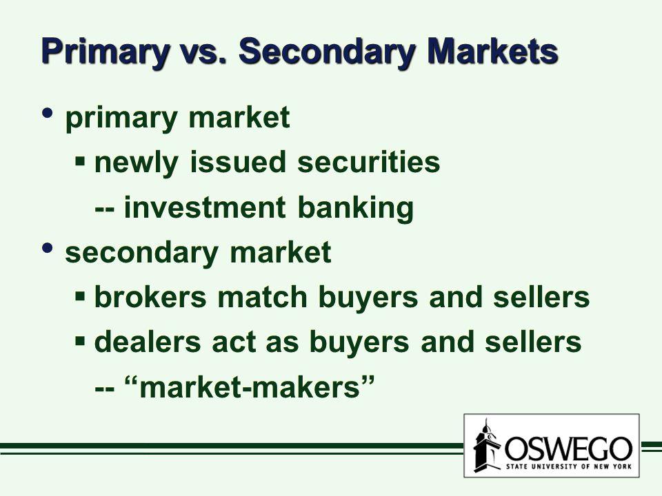Primary vs. Secondary Markets