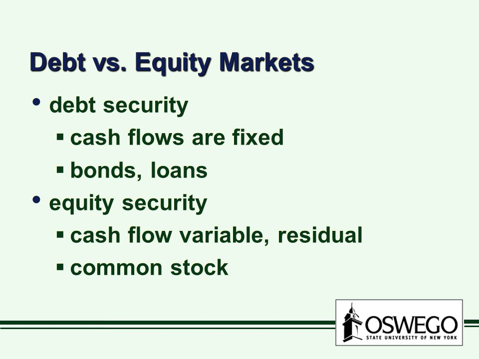 Debt vs. Equity Markets debt security cash flows are fixed
