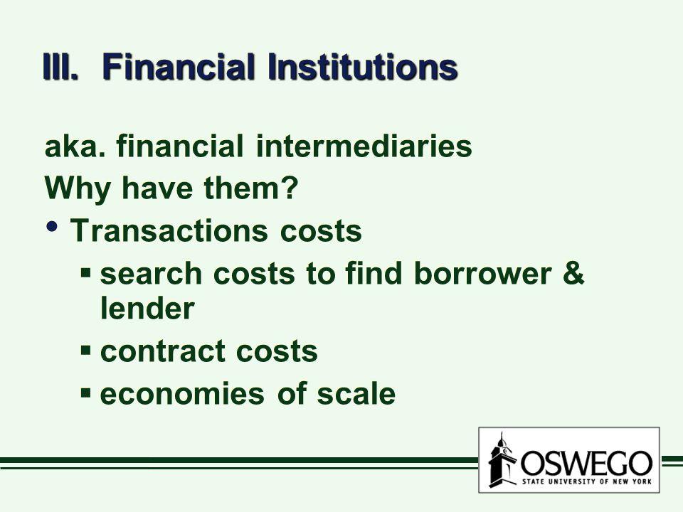 III. Financial Institutions