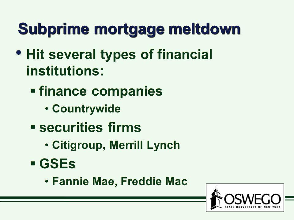 Subprime mortgage meltdown