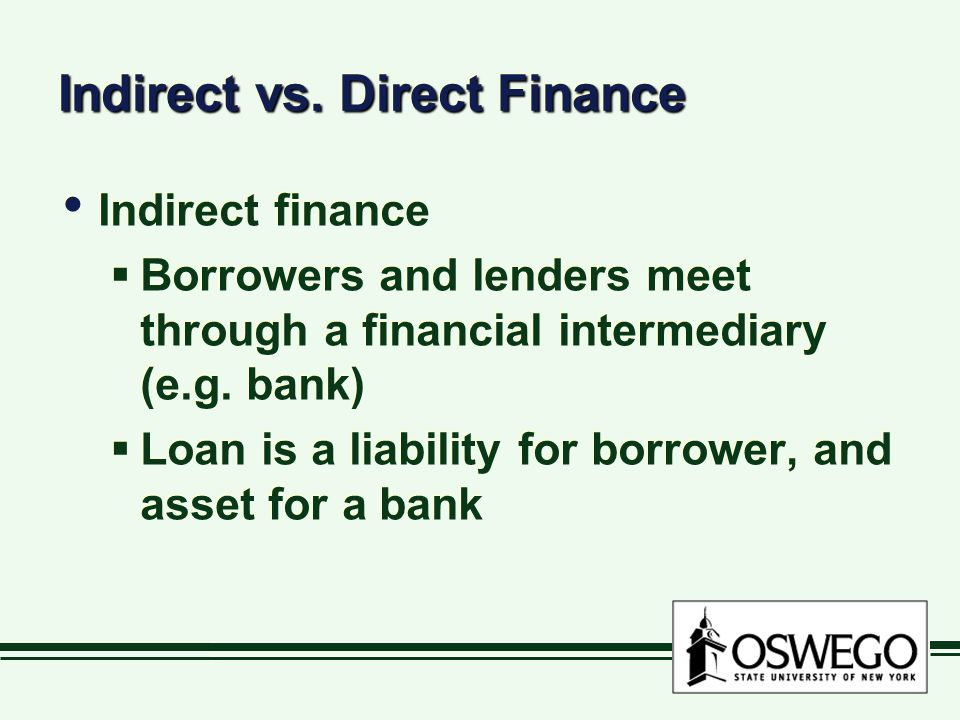Indirect vs. Direct Finance