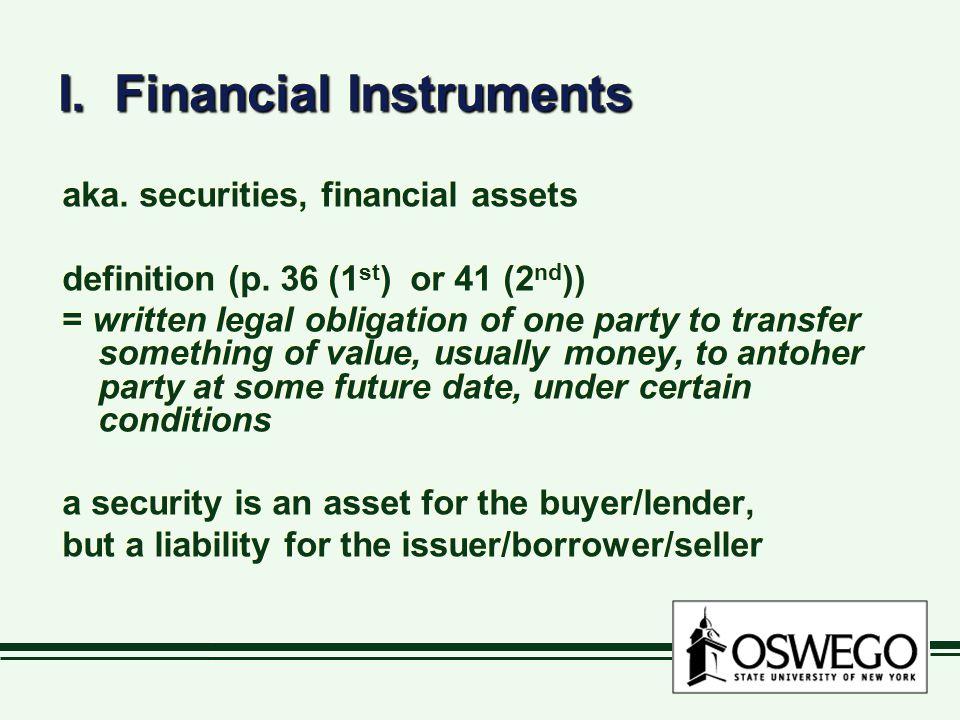 I. Financial Instruments