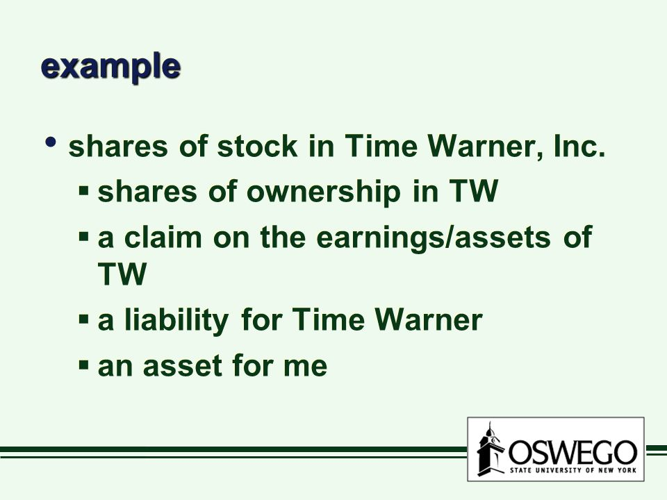 example shares of stock in Time Warner, Inc. shares of ownership in TW
