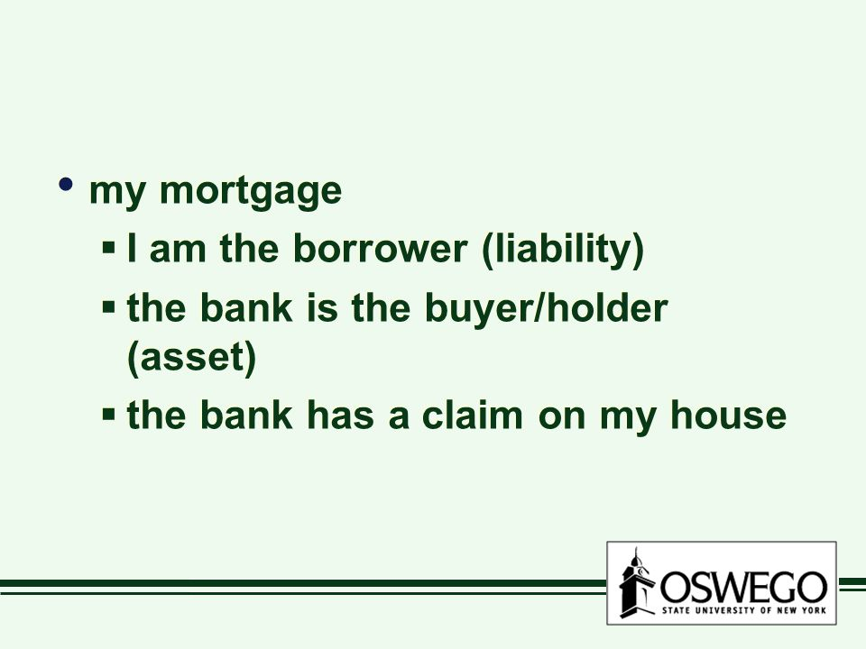 my mortgage I am the borrower (liability) the bank is the buyer/holder (asset) the bank has a claim on my house.