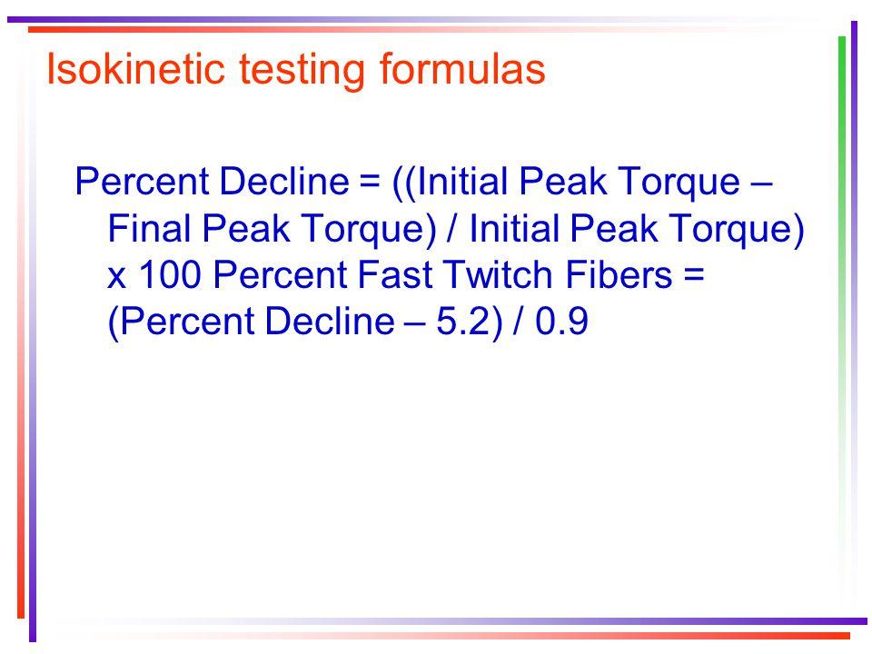 Isokinetic testing formulas