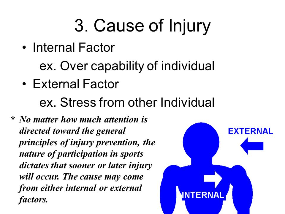 3. Cause of Injury Internal Factor ex. Over capability of individual