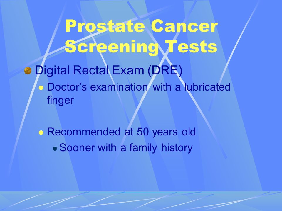 Prostate Cancer Screening Tests