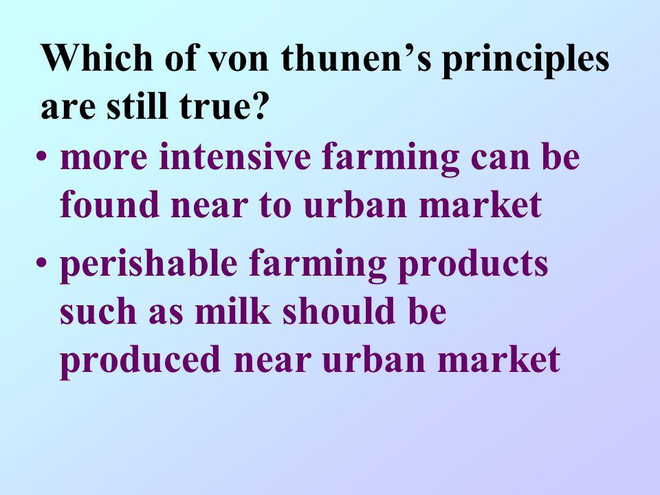 Which of von thunen's principles are still true