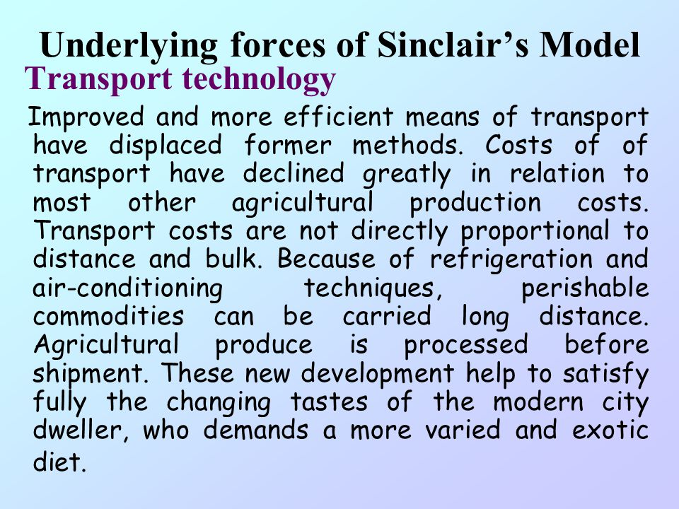 Underlying forces of Sinclair's Model