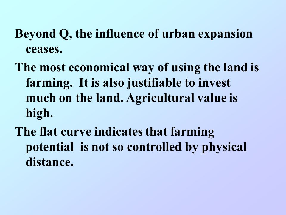 Beyond Q, the influence of urban expansion ceases.