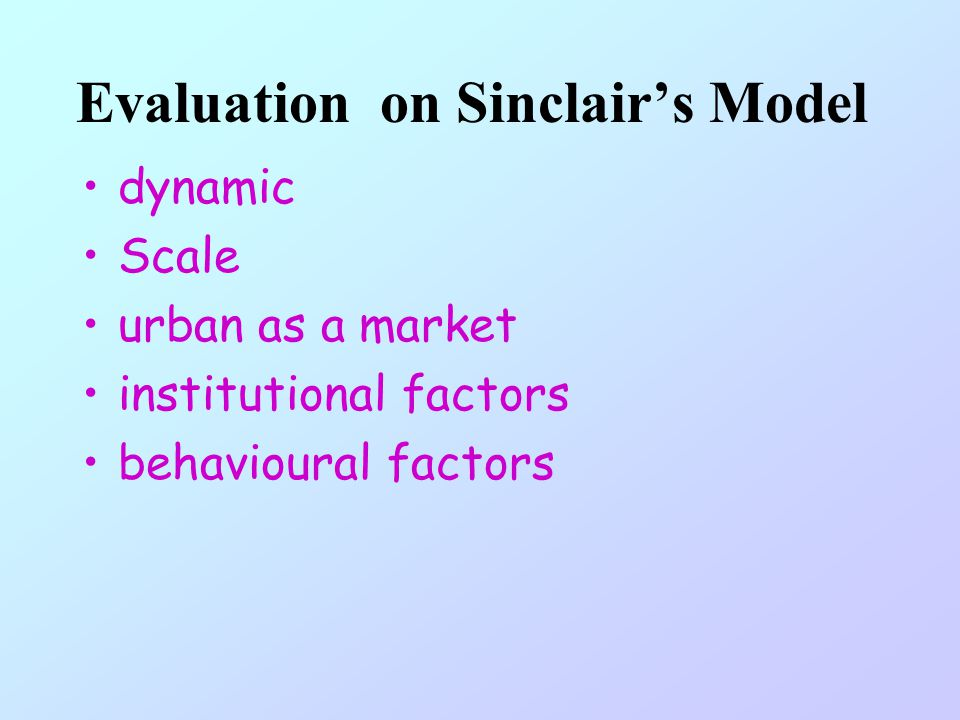 Evaluation on Sinclair's Model
