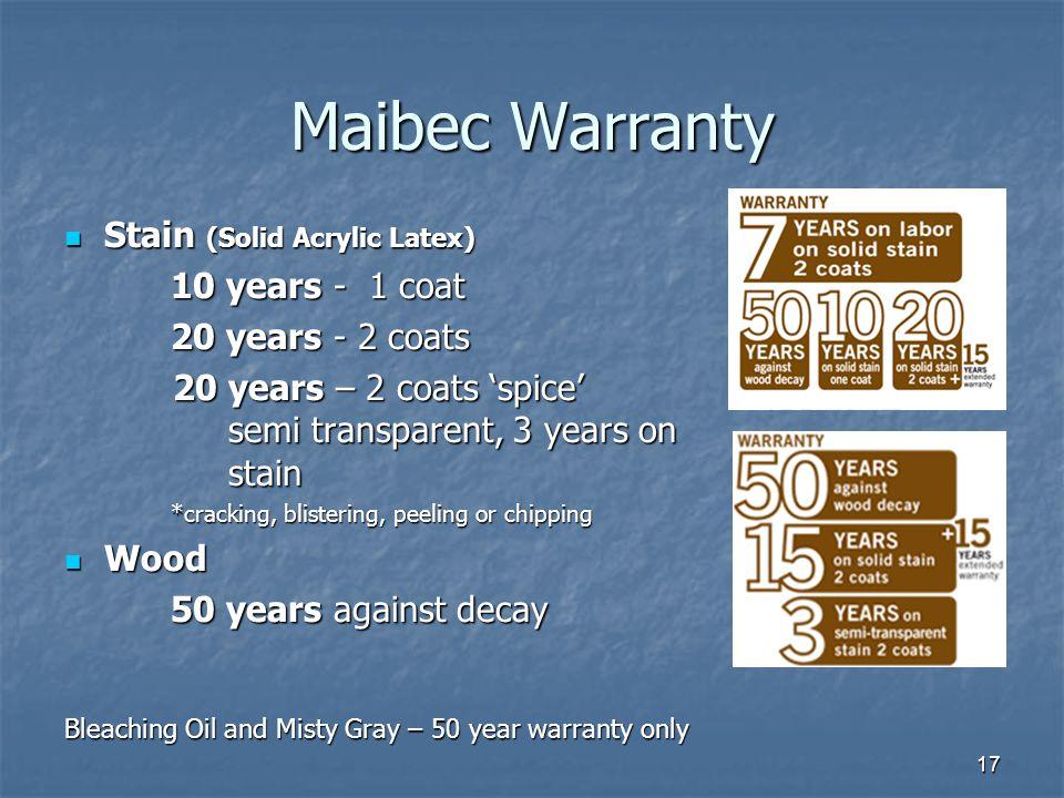 Maibec Warranty Stain (Solid Acrylic Latex) 20 years - 2 coats