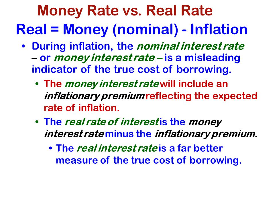 Real = Money (nominal) - Inflation