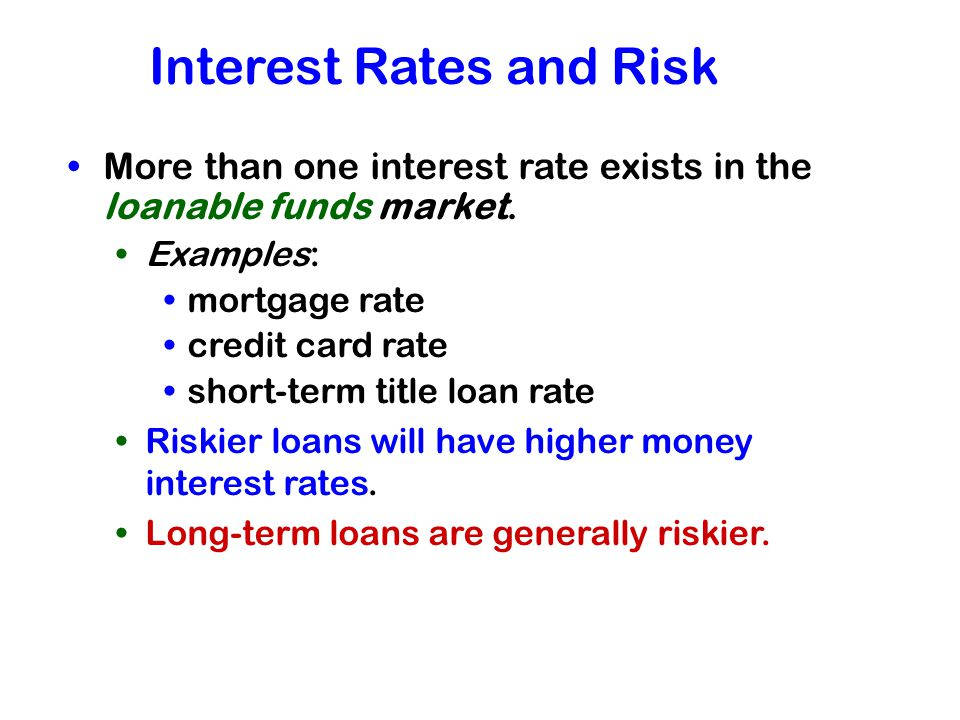 Interest Rates and Risk
