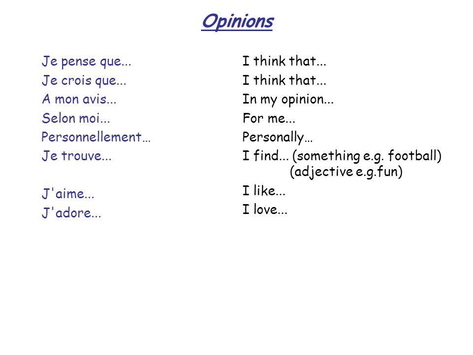 Opinions Je pense que... Je crois que... A mon avis... Selon moi...