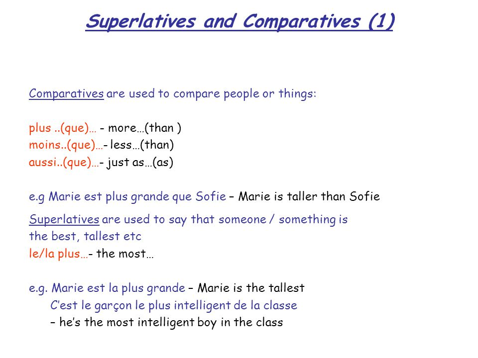 Superlatives and Comparatives (1)