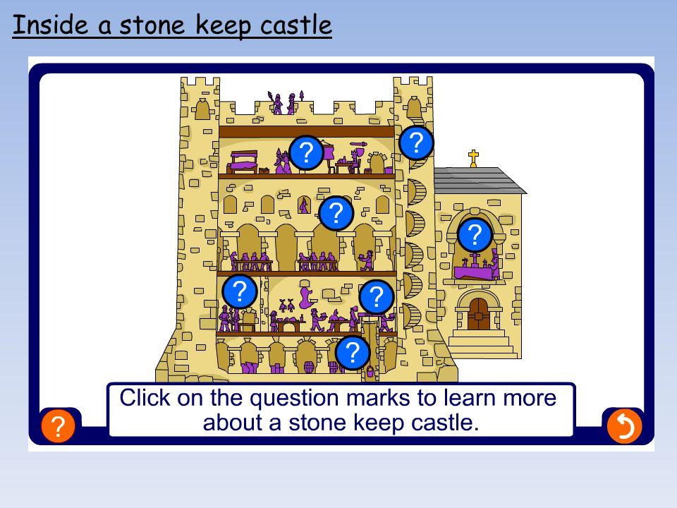 Inside a stone keep castle