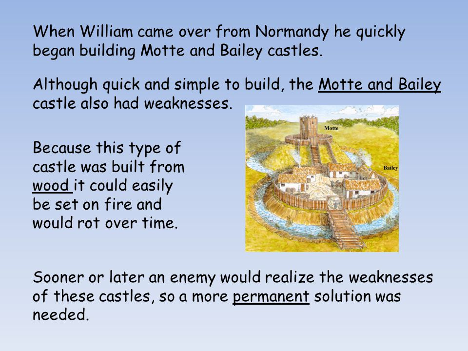 When William came over from Normandy he quickly began building Motte and Bailey castles.