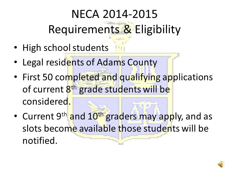 NECA 2014-2015 Requirements & Eligibility