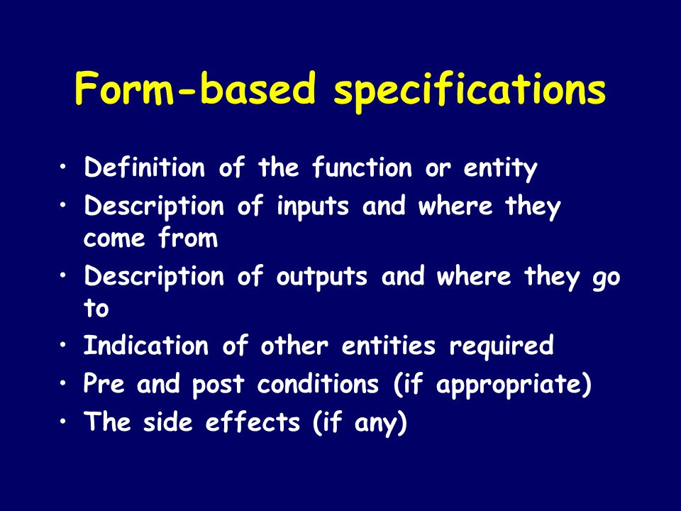 Form-based specifications