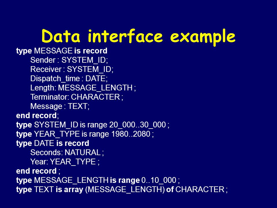 Data interface example