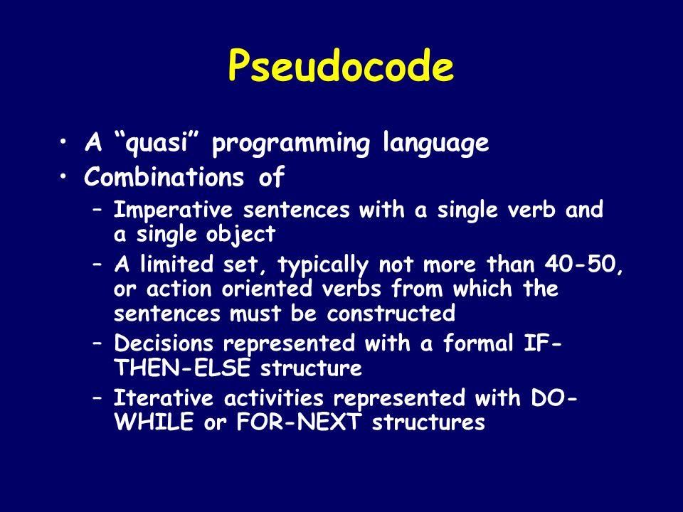Pseudocode A quasi programming language Combinations of
