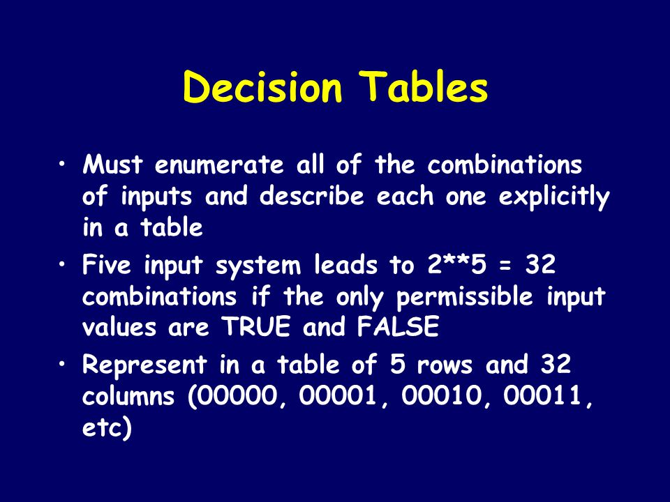 Decision Tables Must enumerate all of the combinations of inputs and describe each one explicitly in a table.