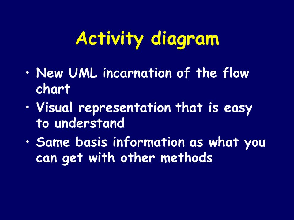 Activity diagram New UML incarnation of the flow chart