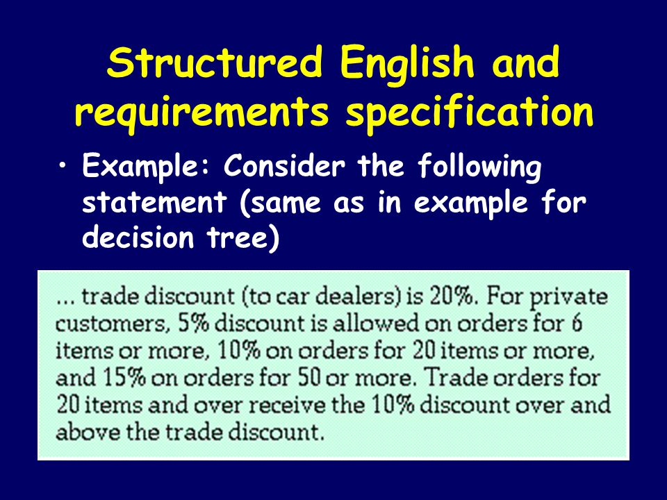 Structured English and requirements specification