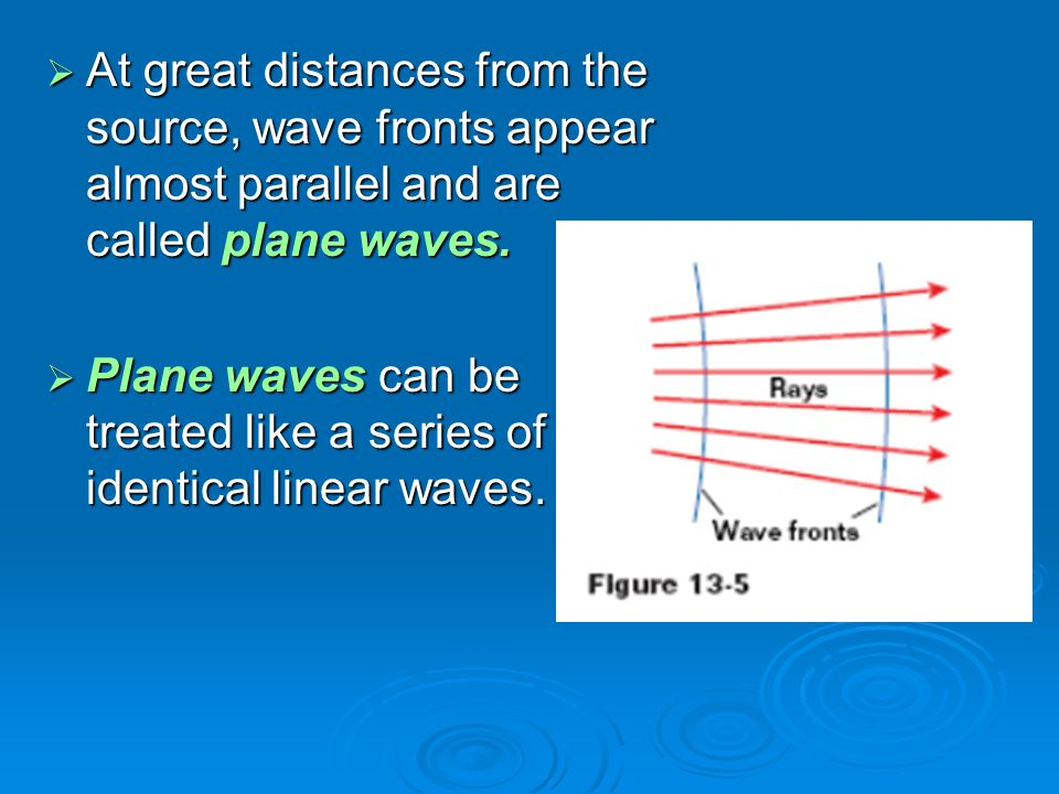 At great distances from the source, wave fronts appear almost parallel and are called plane waves.