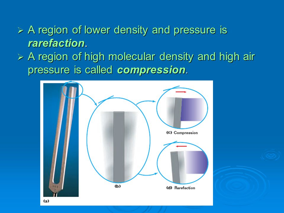A region of lower density and pressure is rarefaction.