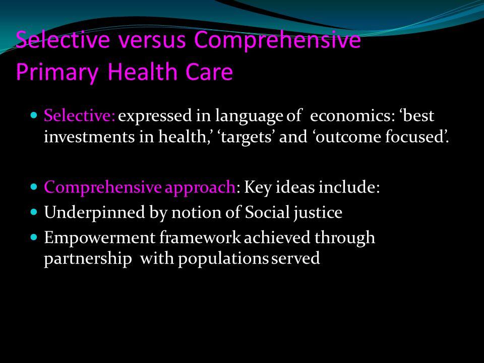 Selective versus Comprehensive Primary Health Care