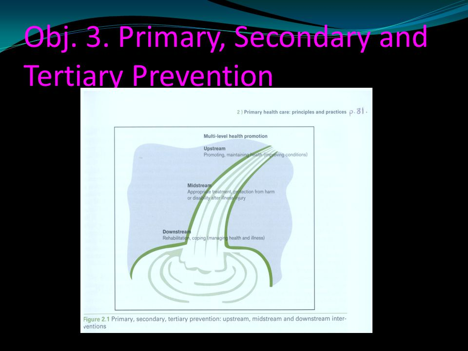 Obj. 3. Primary, Secondary and Tertiary Prevention