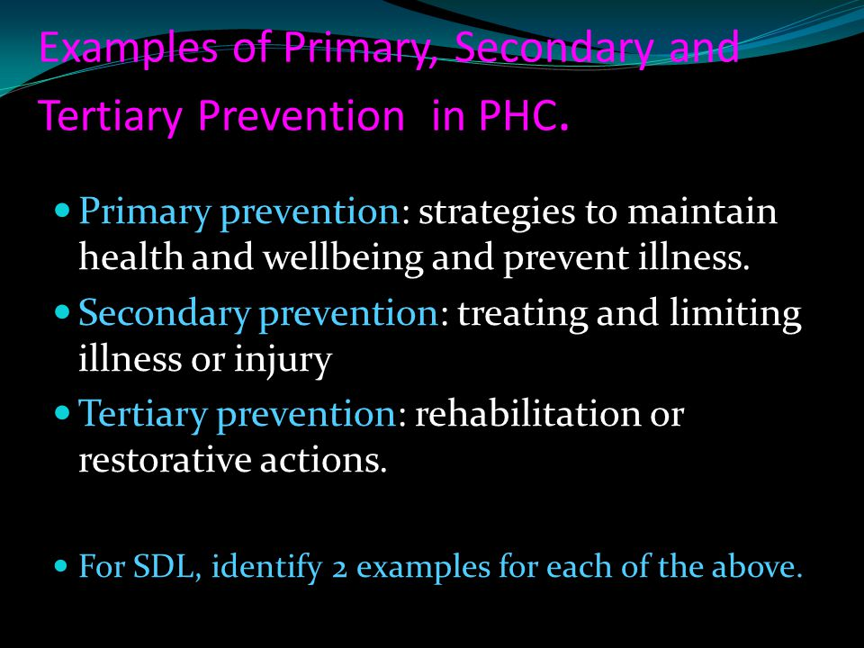 Examples of Primary, Secondary and Tertiary Prevention in PHC.