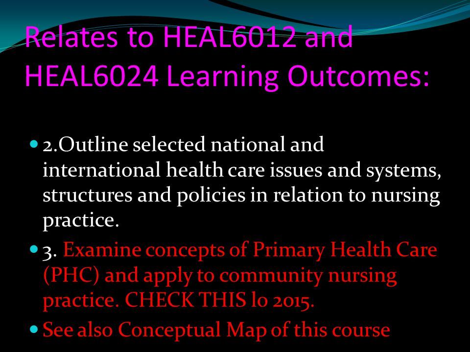 Relates to HEAL6012 and HEAL6024 Learning Outcomes: