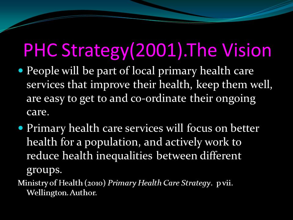 PHC Strategy(2001).The Vision