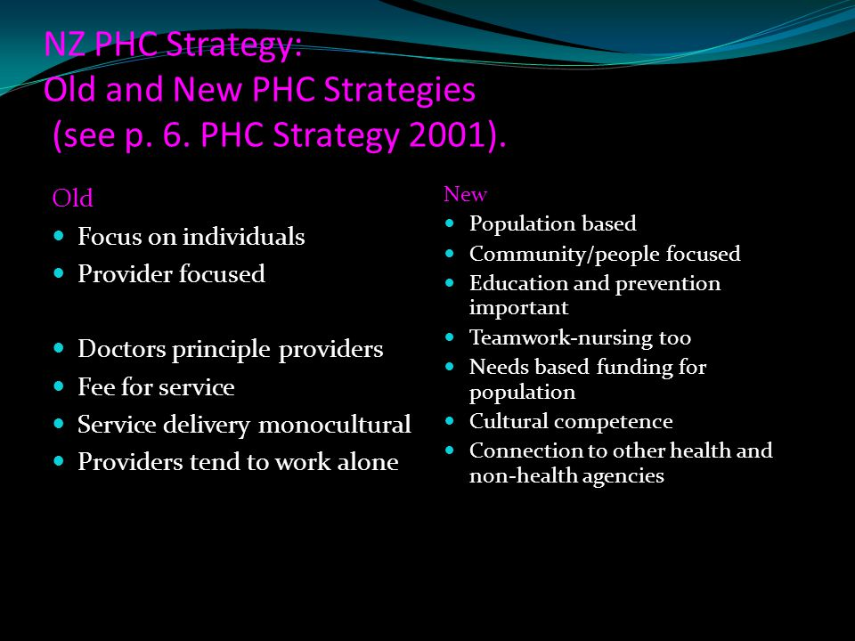 NZ PHC Strategy: Old and New PHC Strategies (see p. 6