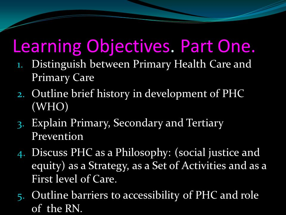 Learning Objectives. Part One.