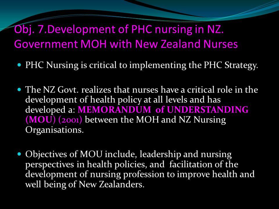 Obj. 7. Development of PHC nursing in NZ
