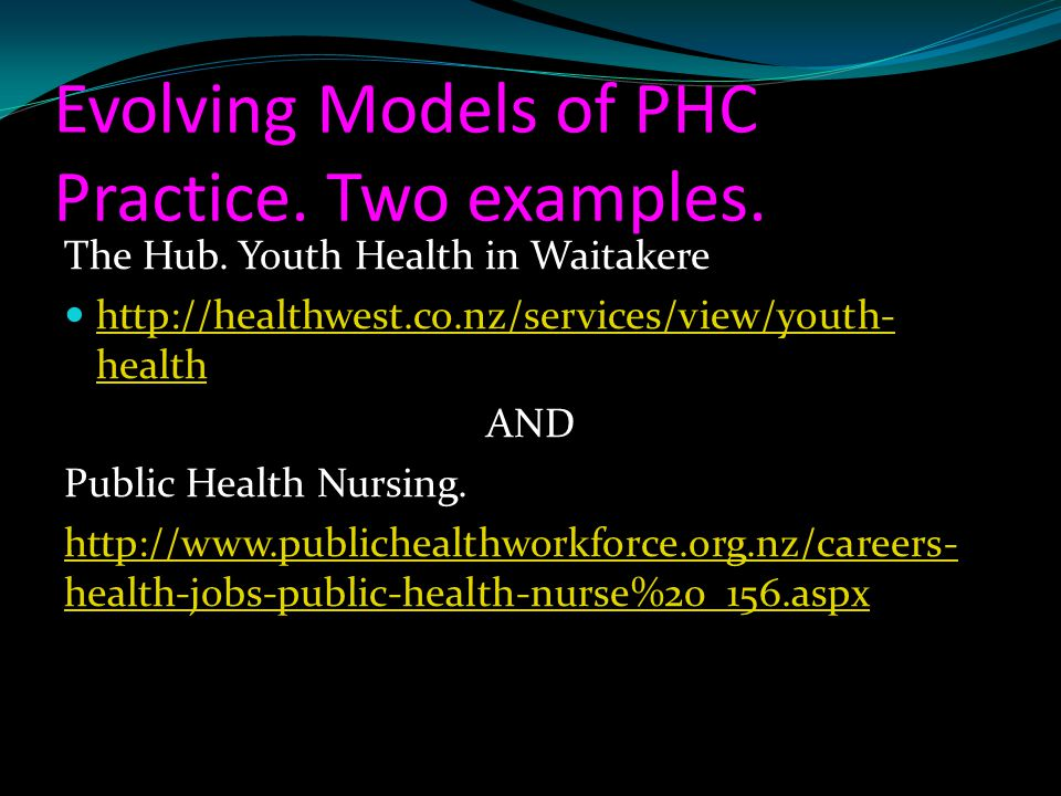 Evolving Models of PHC Practice. Two examples.