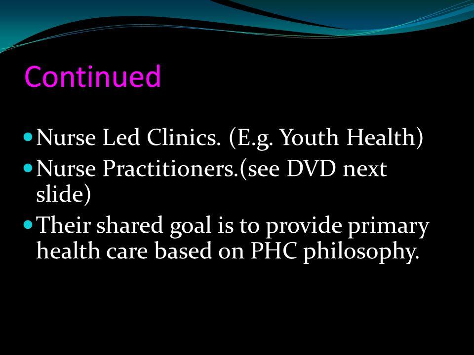 Continued Nurse Led Clinics. (E.g. Youth Health)