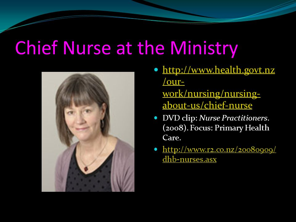 Chief Nurse at the Ministry