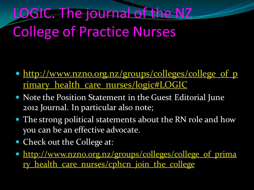 LOGIC. The journal of the NZ College of Practice Nurses